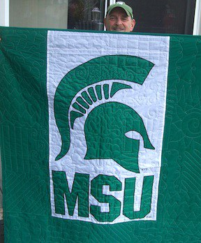 MSU Flag of the back of a T-shirt quilt