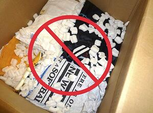 Packing T-shirts in Peanuts