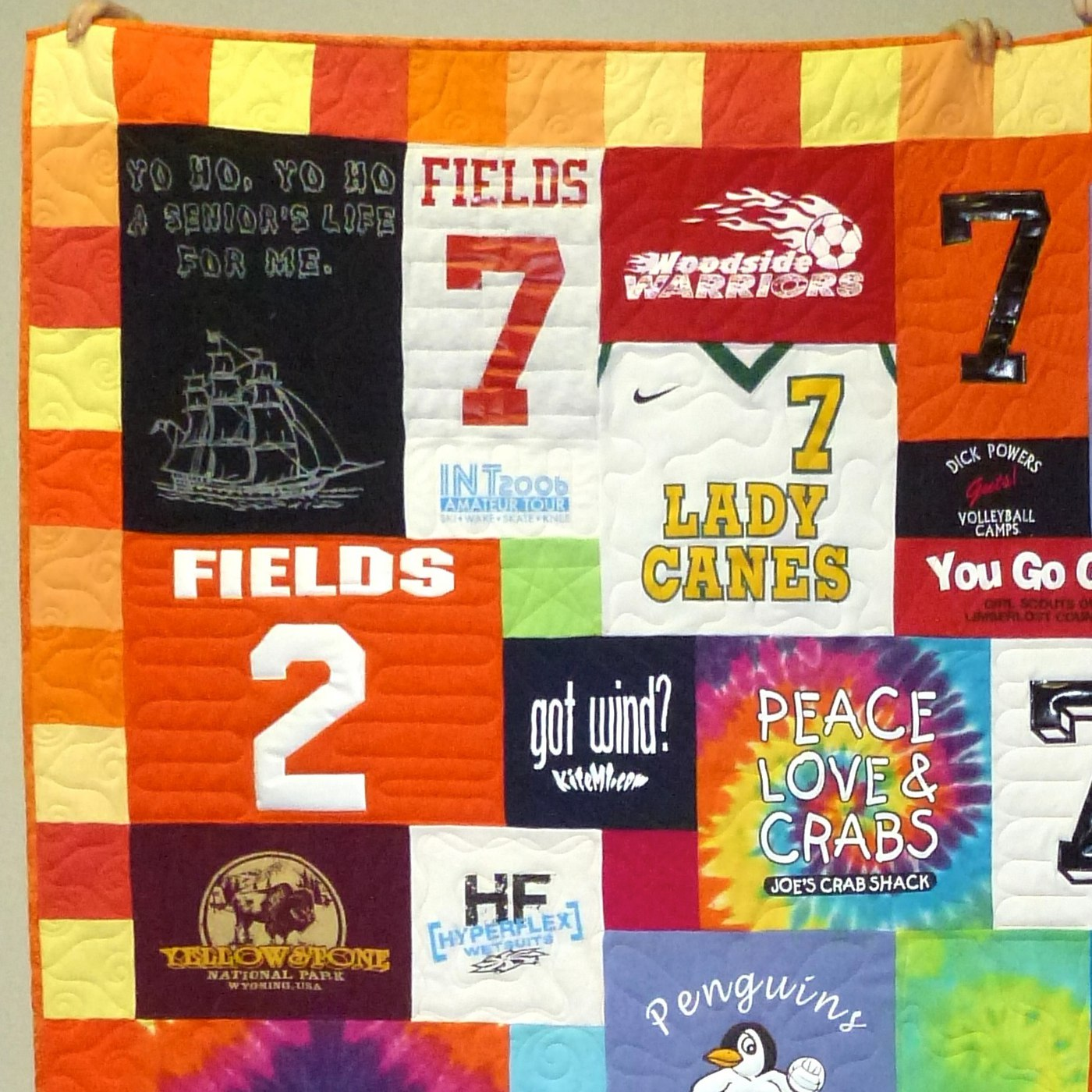 "T-shirt quilt with a 4"" pieced border"