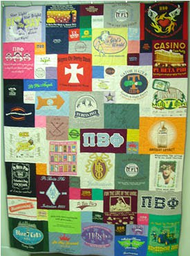 T-shirt quilt from salvaged t-shirts