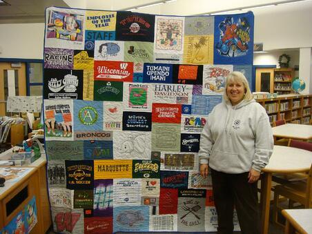 school rretirement gift of a T-shirt quilt