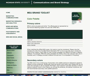 an example of a website with a college's color info.