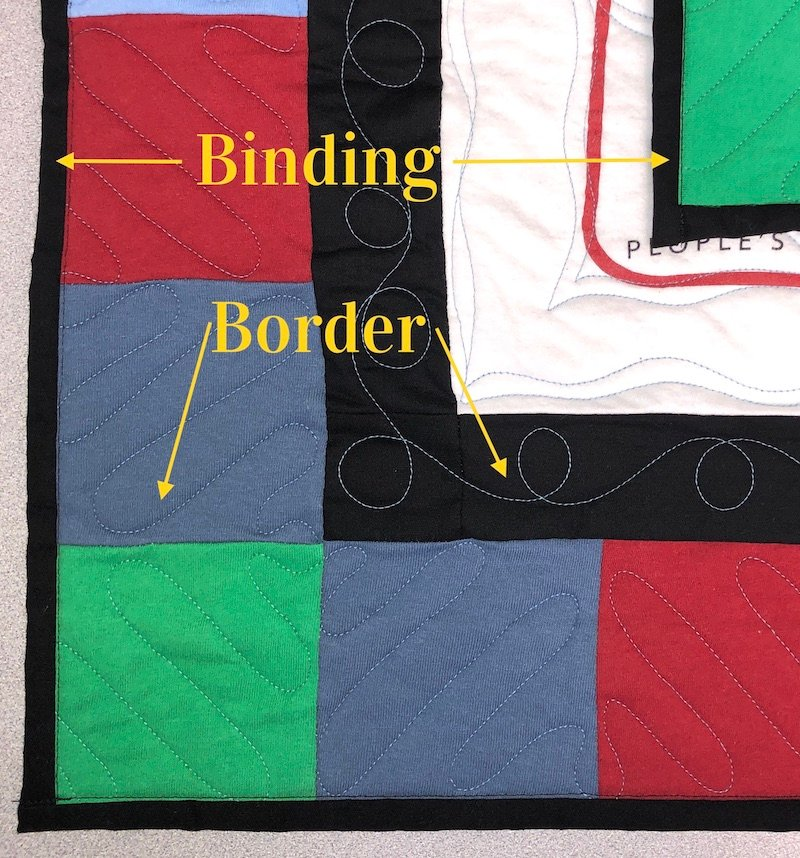 Compare a border and a binding on a T-shirt quilt