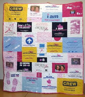 memorial quilt with photos and T-shirts
