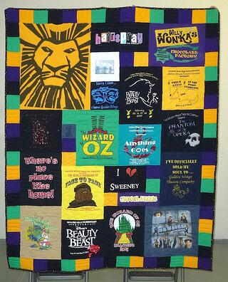 Theatre T-shirt quilt made with a variable block style.