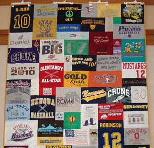 Quilt hung using pant hangers