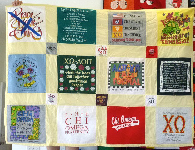 This is what a traditional style T-shirt looked like before it was transformed into a Too Cool T-shirt quilt.