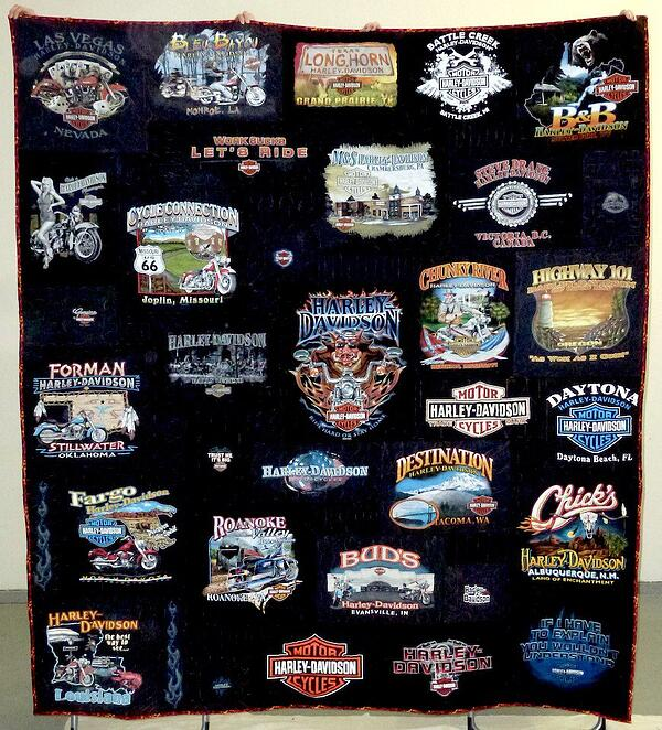 An all black Harley T-shirt quilt