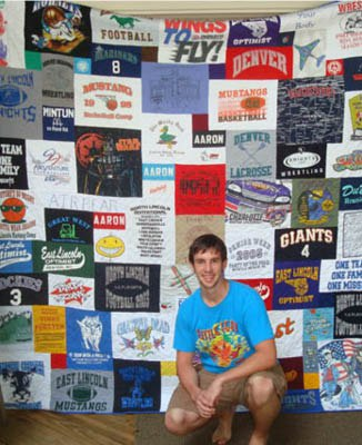 Boy in front of Graduation T-shirt Quilt