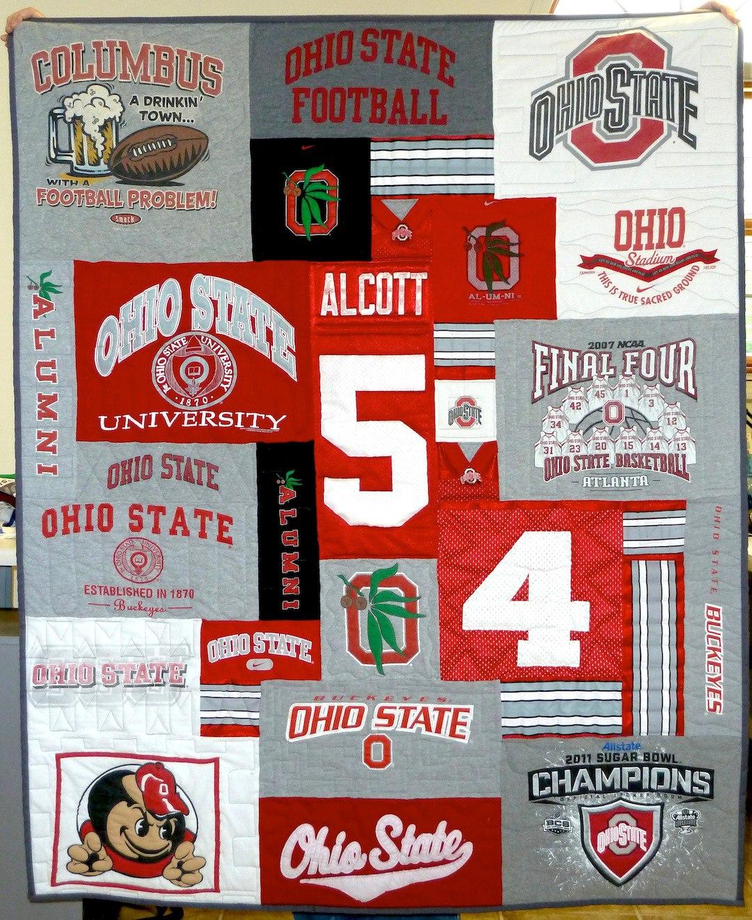 Ohio State Theme T-shirt quilt