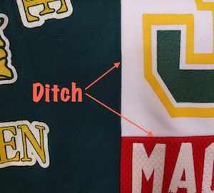 This shows where the ditch is in a T-shirt quilt.
