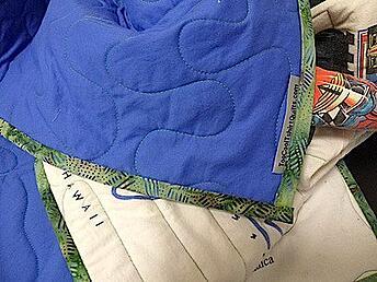 binding on a tee shirt quilt