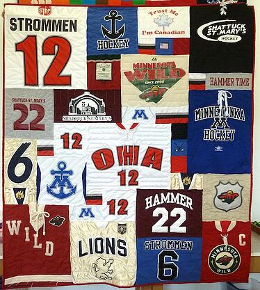Hockey jersey T-shirt quilt by Too Cool T-shirt Quilts