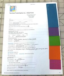 An example of color swatches on an order form
