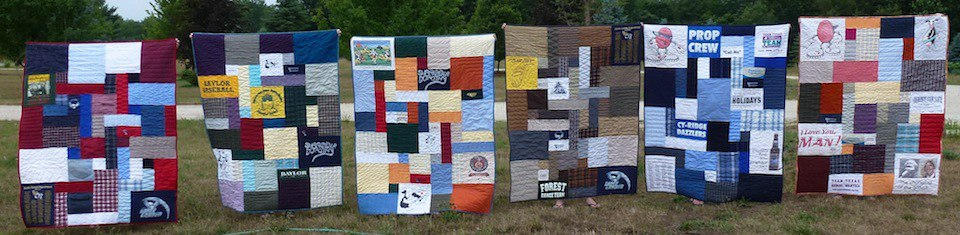 6 memorial quilts from granddad's clothing. One for each of the grandkids