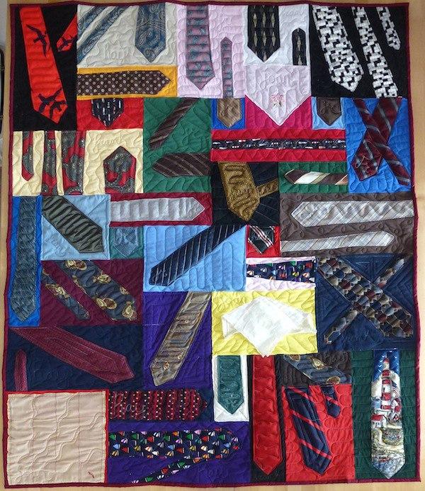 necktie quilt with a few hankies