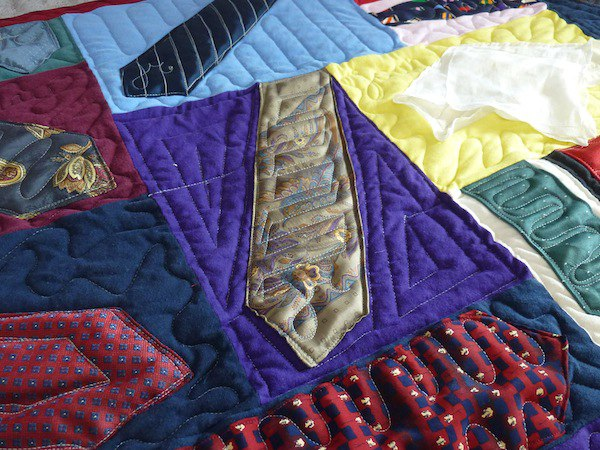 Neckties can be used in a quilt or T-shirt quilt.