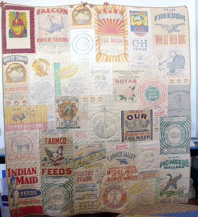 quilt made from advertising feedsacks