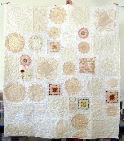 quilt made from doilies
