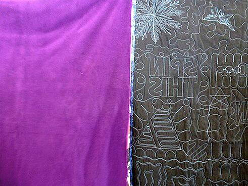 compare back of a T-shirt quilt with the back of a blanket