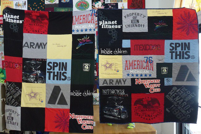 compare a traditional T-shirt quilt with a Too Cool T-shirt quilt