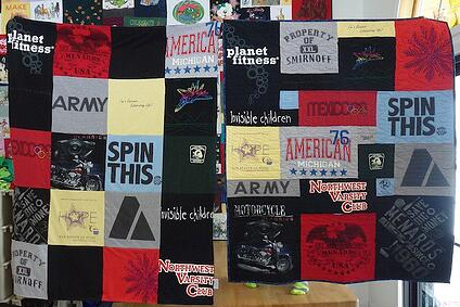 A traditional style T-shirt quilt on the left. A puzzled style T-shirt quilt made by Too Cool T-shirt Quilts on the right.