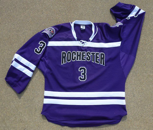 Hockey jerseys can make great quilts. This is a photo of a hockey jersey ready to get cut to be put into a quilt.