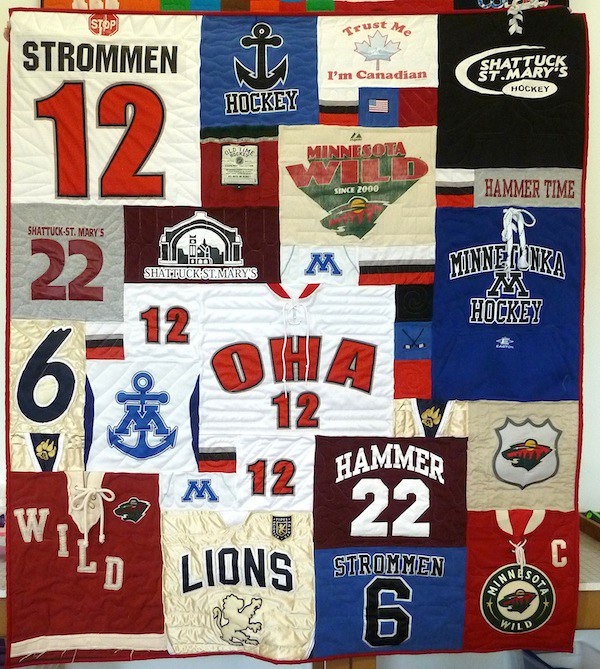 This photo is of a hockey jersey quilt.