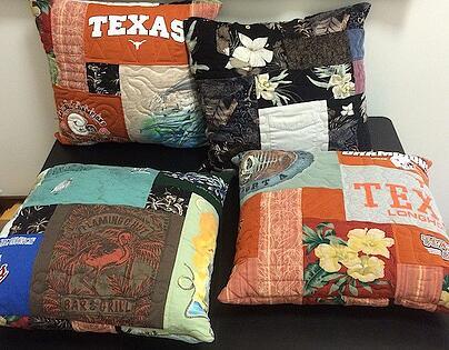 4 memorial pillows made from T-shirts and Hawaiian shirts.
