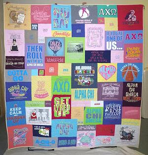 A sorority T-shirt quilt made with many different size blocks.