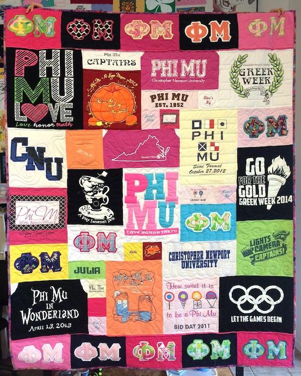 Phi Mu T-shirt quilt. Christopher Newport University.