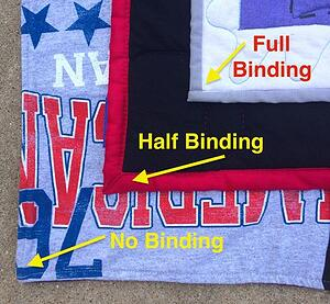 3 types of binding used on T-shirt quilts - from the front.