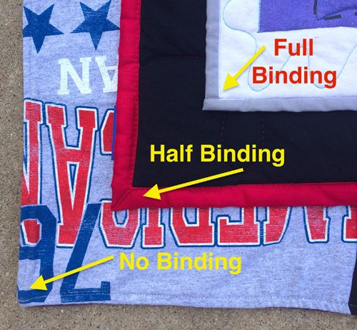 3 types of bindings used on T-shirt quilts