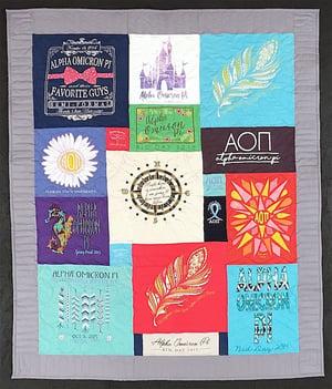Alpha Omicron Pi T-shirt quilt. Florida State University