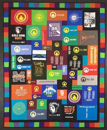 Colorful Too Cool T-shirt Quilt with a double border