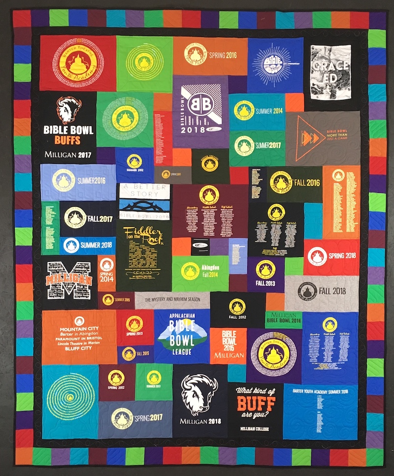 A very awesome T-shirt quilt.
