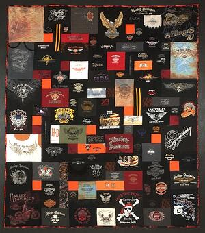 A hell of an awesome Harley Davidson T-shirt quilt!