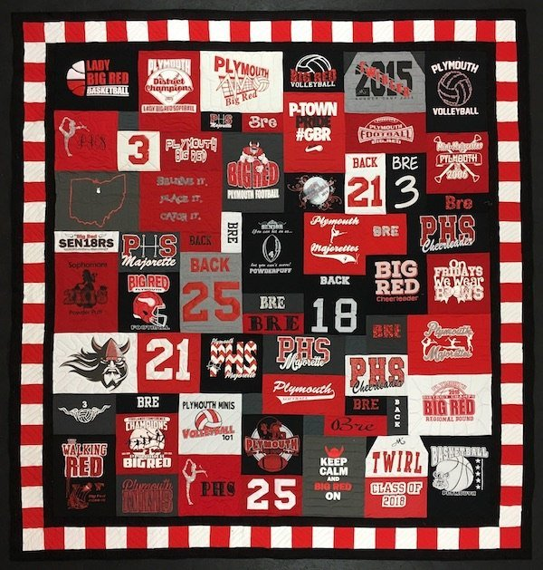 red white and black t-shirt quilt