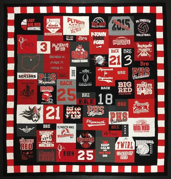 red white and black quilt