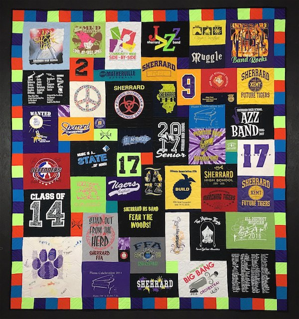 Awesome colorful border on a T-shirt quilt