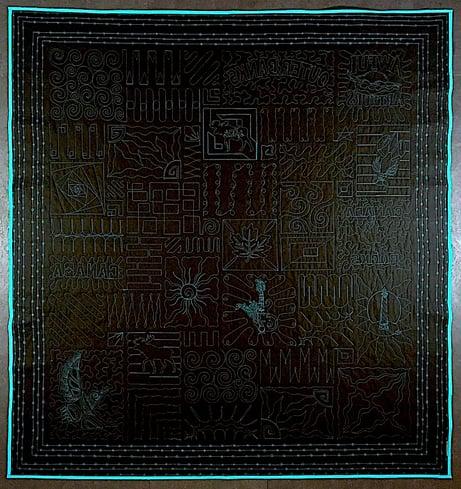 Back of black travel T-shirt quilt