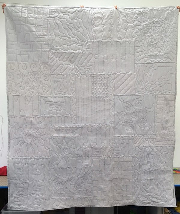 The back of a too cool T-shirt quilt