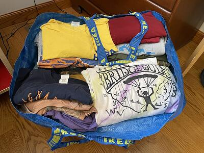 Bag of T-shirts ready for a quilt
