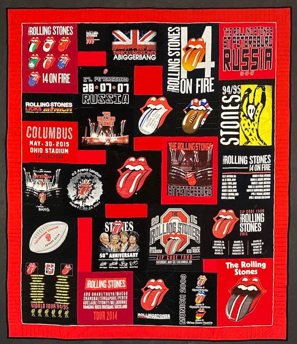 Best of T-shirt quilt of 2020 - Rolling Stones T-shirt Quilt