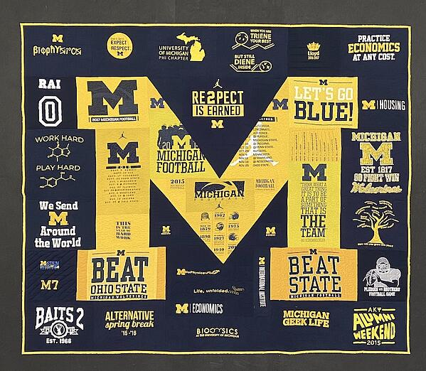 Best of T-shirt quilt of 2020 - U of M Quilt Front