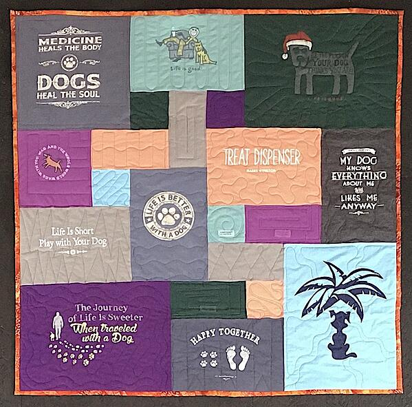 Best of T-shirt quilt of 2020 - happy dog
