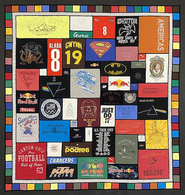 Best of T-shirt quilt of 2020 - stained glass colorful