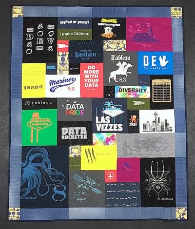 Blue Jean Border on a T-shirt quilt