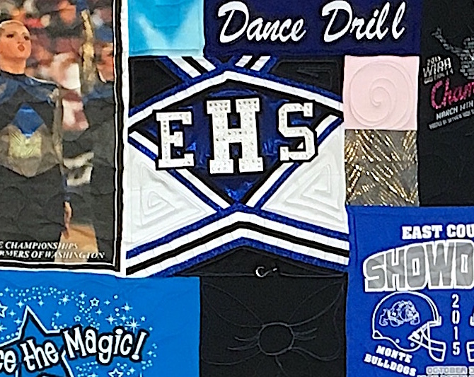 Cheer outfits close up used in a T-shirt quilt