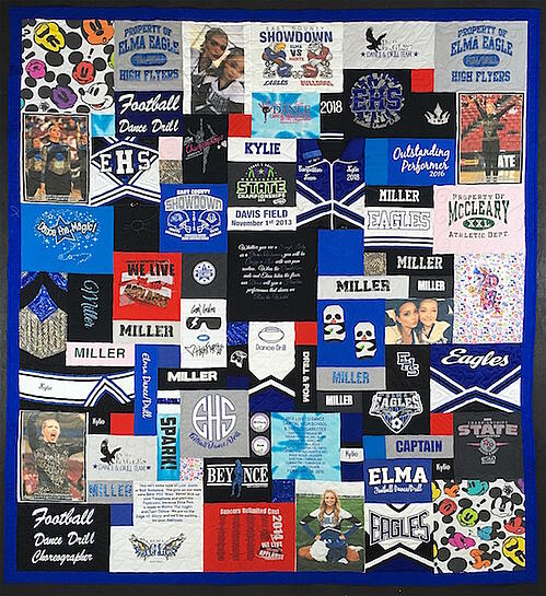 Cheer outfits used in a T-shirt quilt